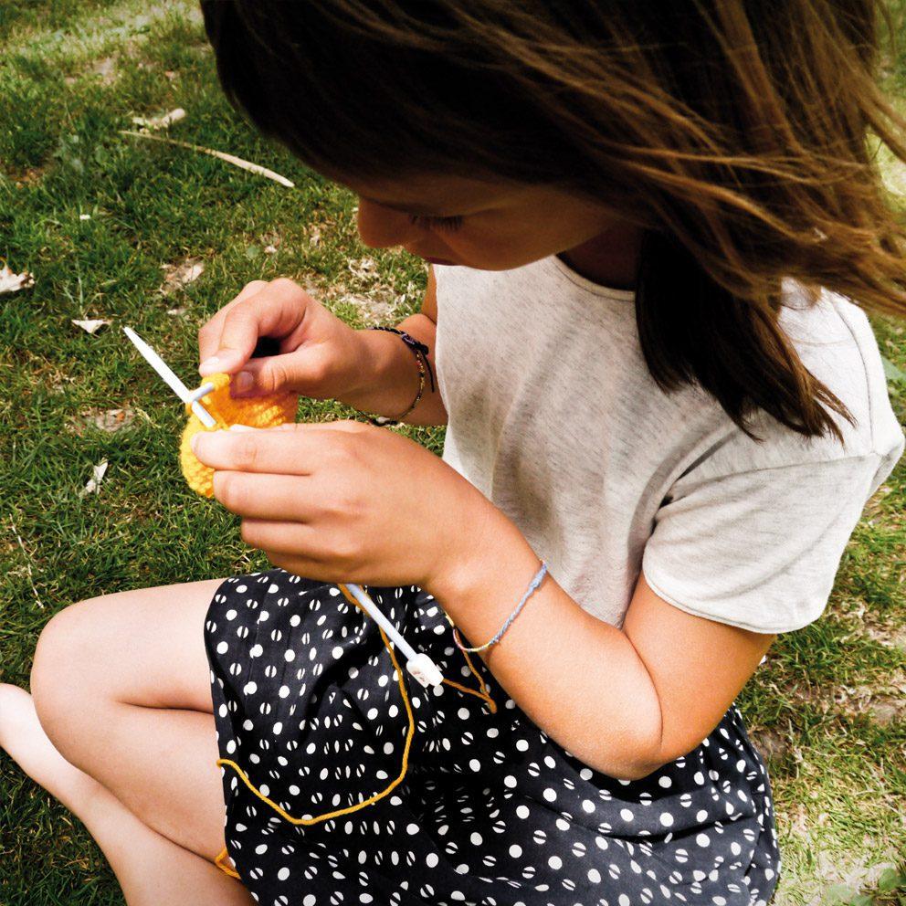 kit tricot col jaune